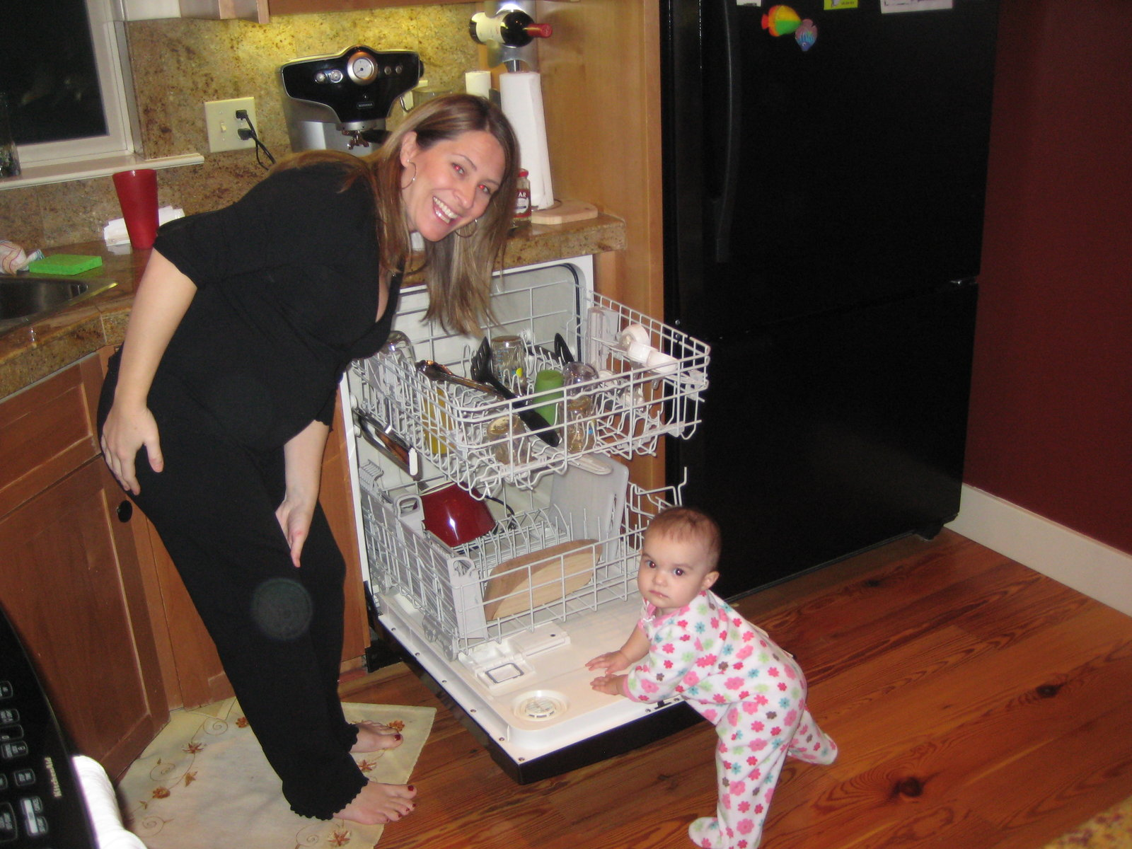 Helping Kristin do the dishes!